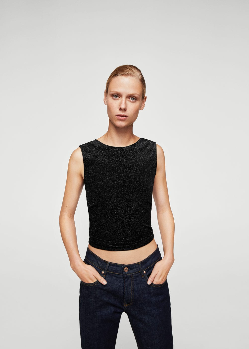 Glossed-effect top | MANGO