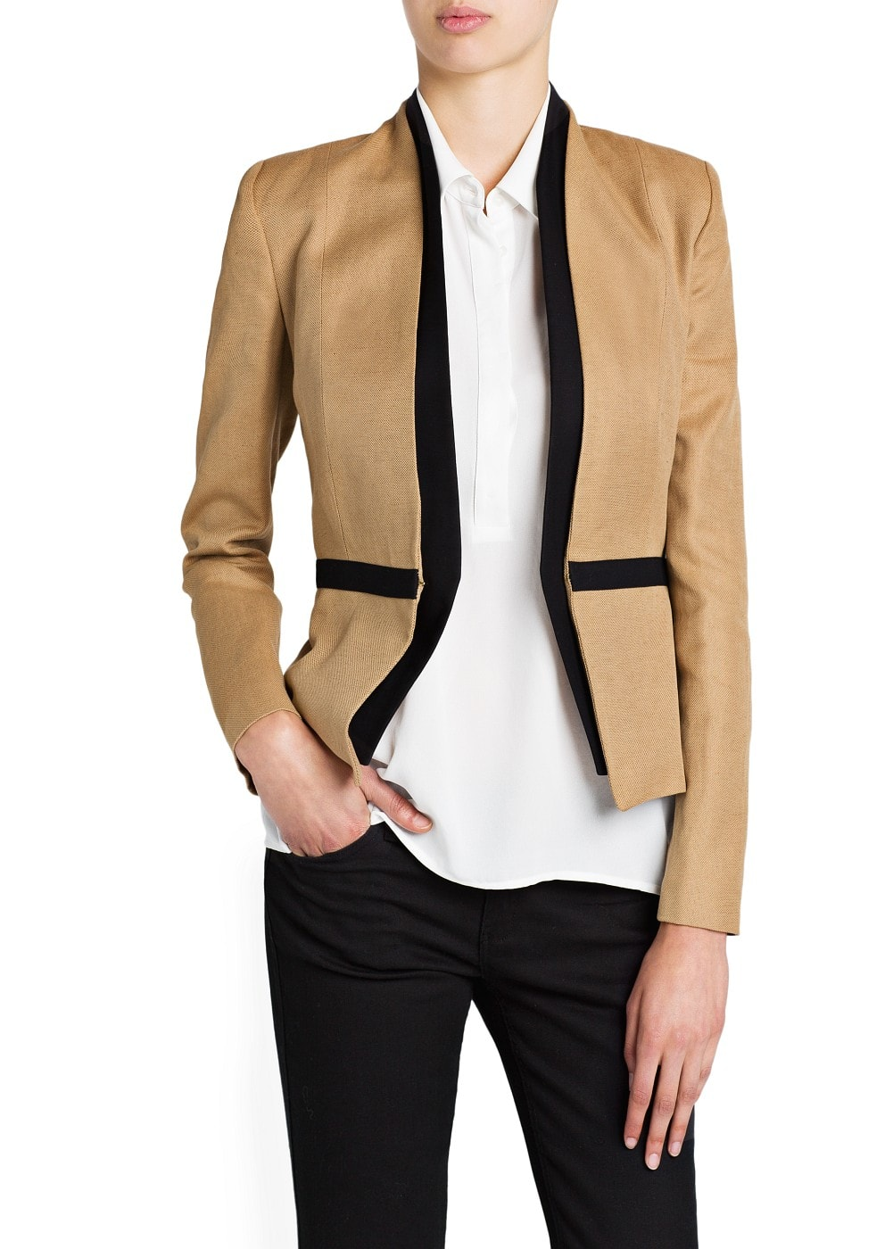 Cotton linen-blend jacket | MANGO