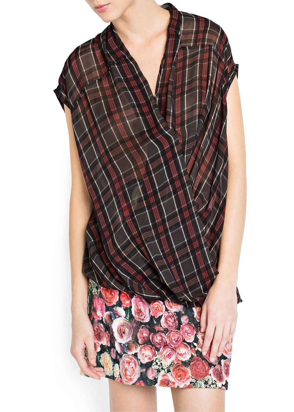 Plaid wrap blouse | MANGO
