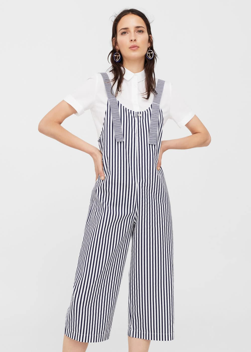 Striped cropped dungarees | MANGO