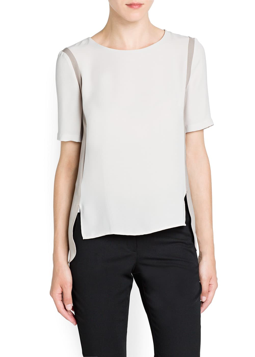 Contrast side blouse | MANGO