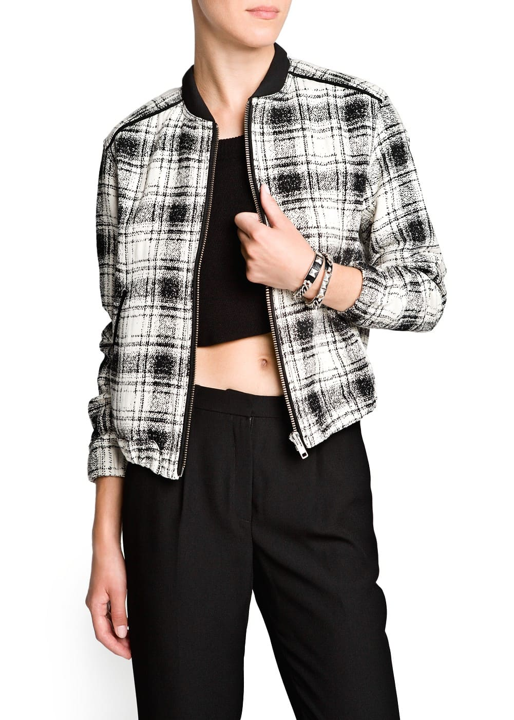 Check bomber jacket | MANGO