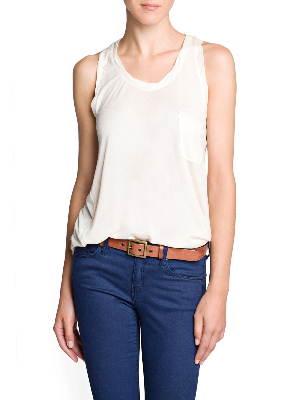 Modal and cashmere pocket top | MANGO