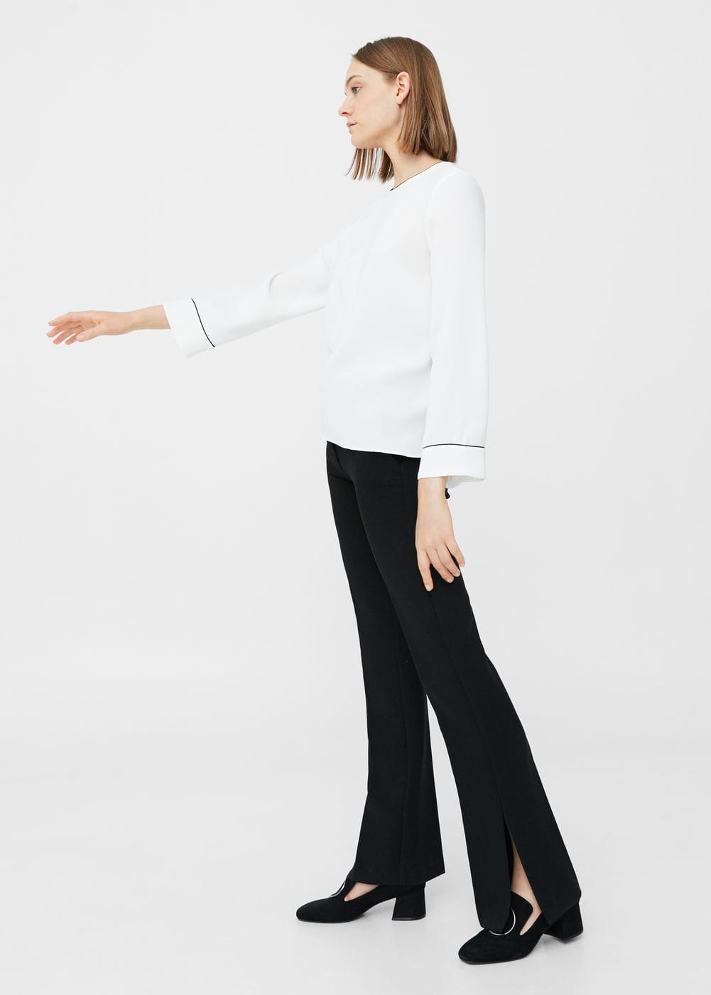 Contrast trim blouse | MNG