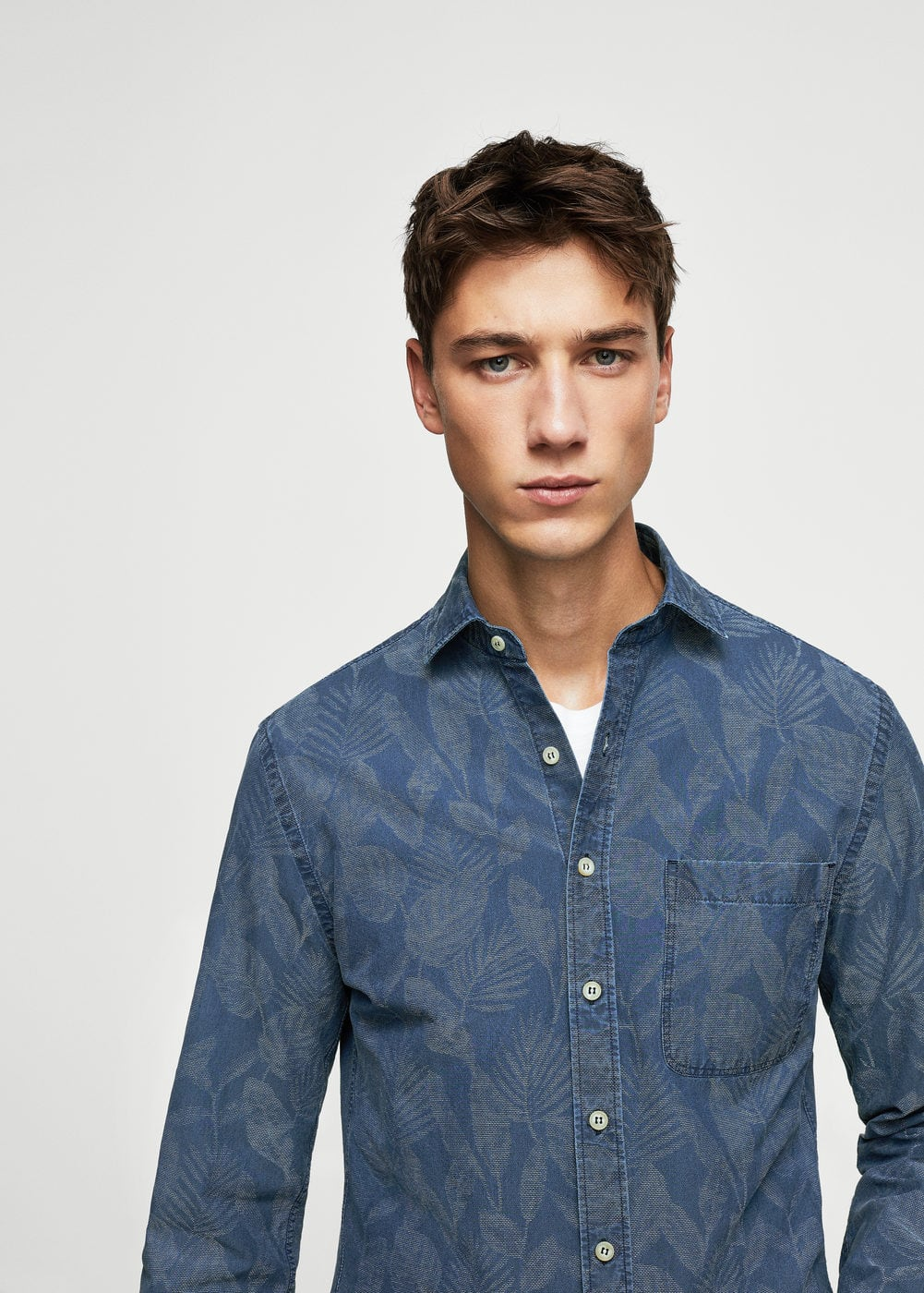 Camisa slim-fit chambray floral | MANGO