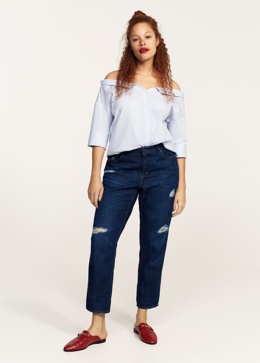 Blusa off-shoulder rayas | MANGO