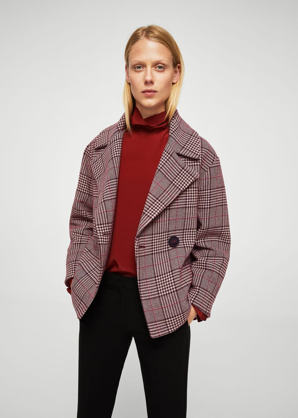 Checkered wool-blend coat | MANGO