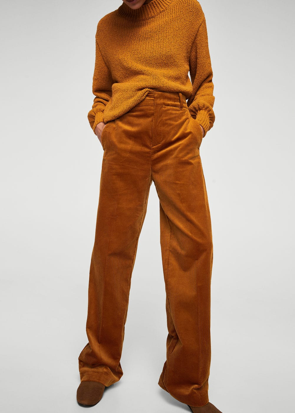 High-waist corduroy trousers | MANGO