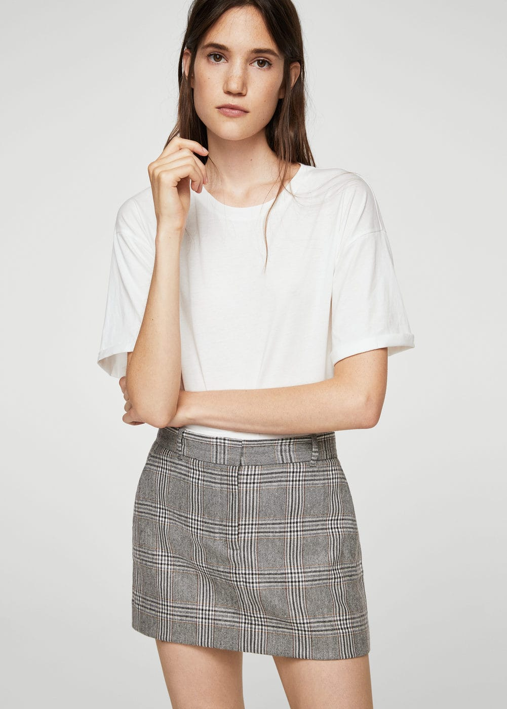 Prince of wales wool-blend skirt | MANGO