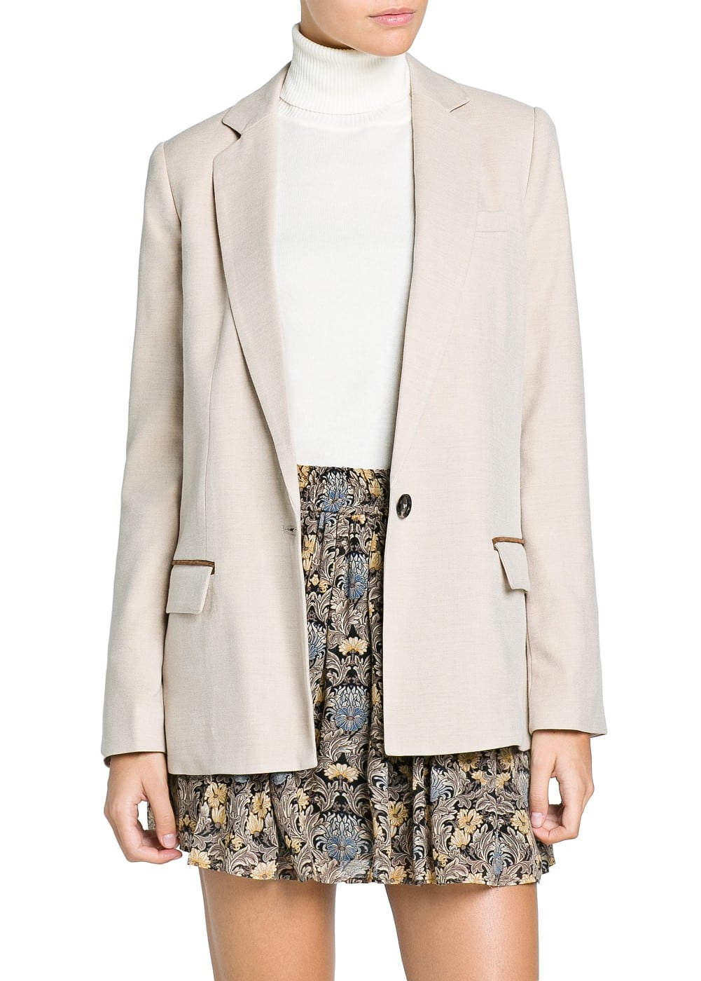Contrast trim straight-fit blazer | MANGO