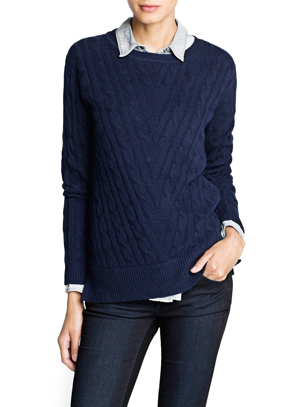 Cable-knit cashmere sweater | MANGO