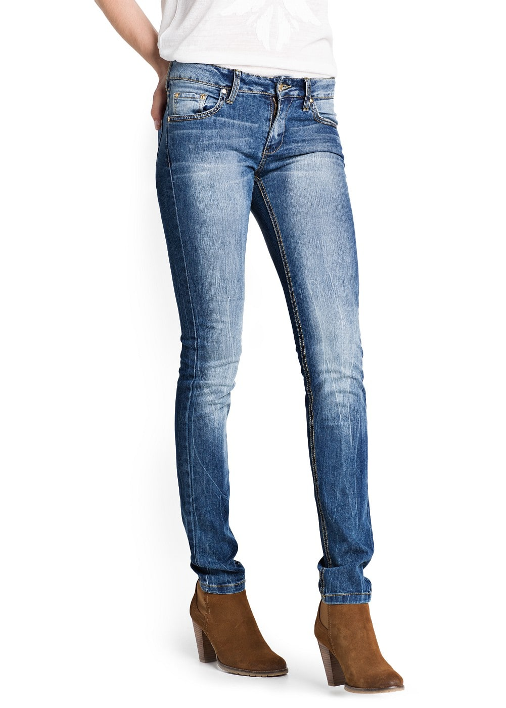Slim-fit medium wash jeans | MANGO