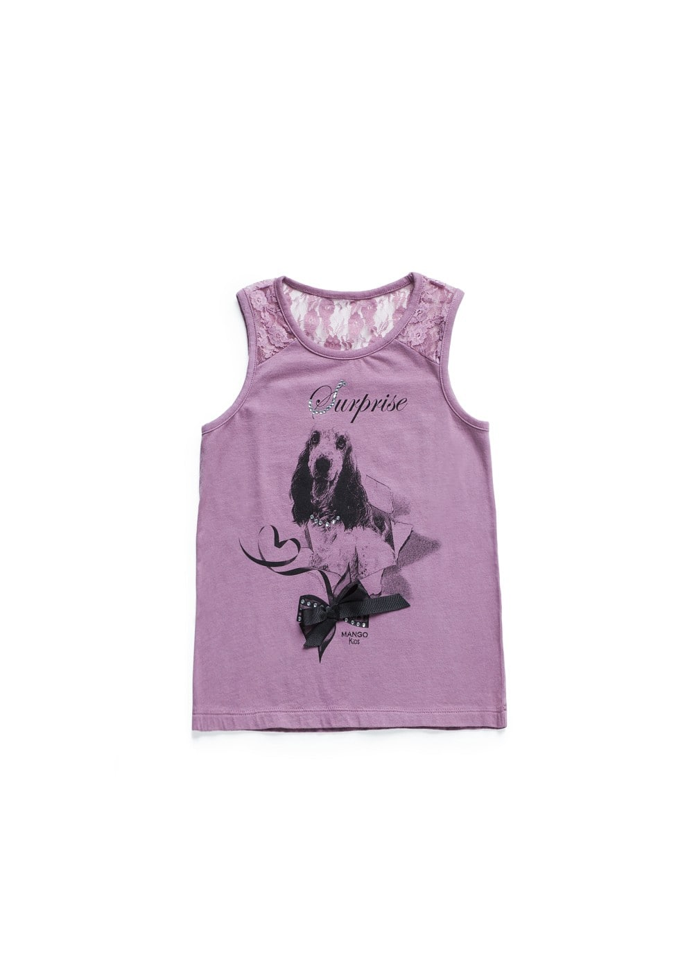 Camiseta estampada panel encaje | MANGO KIDS