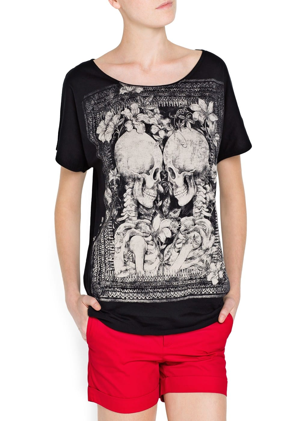 Skull print cotton t-shirt | MANGO
