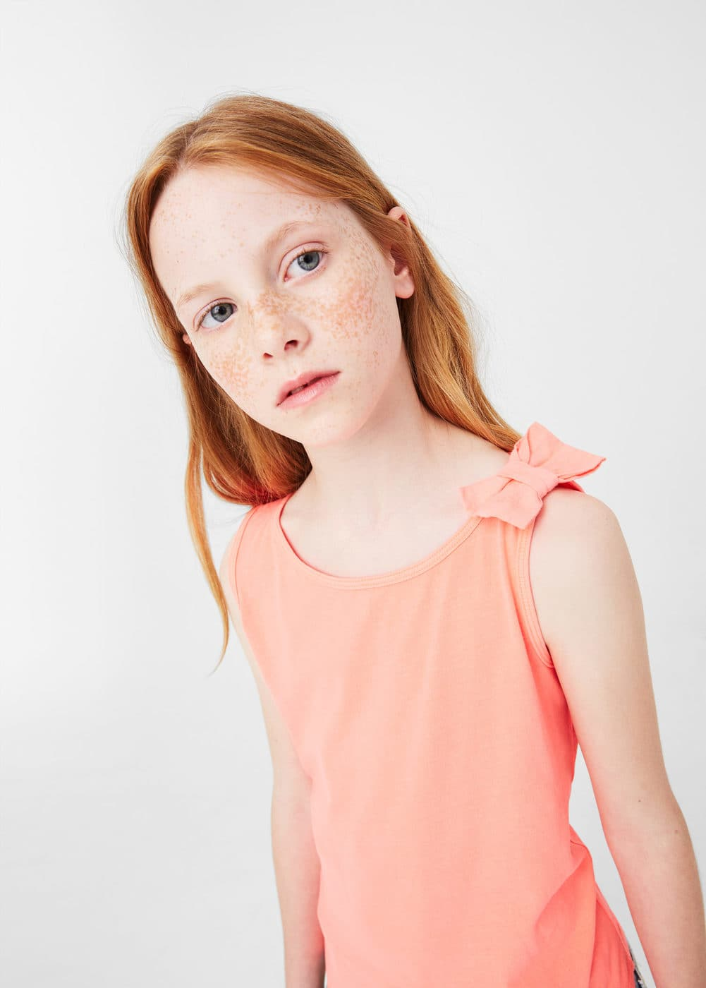 Bow cotton t-shirt | MANGO KIDS