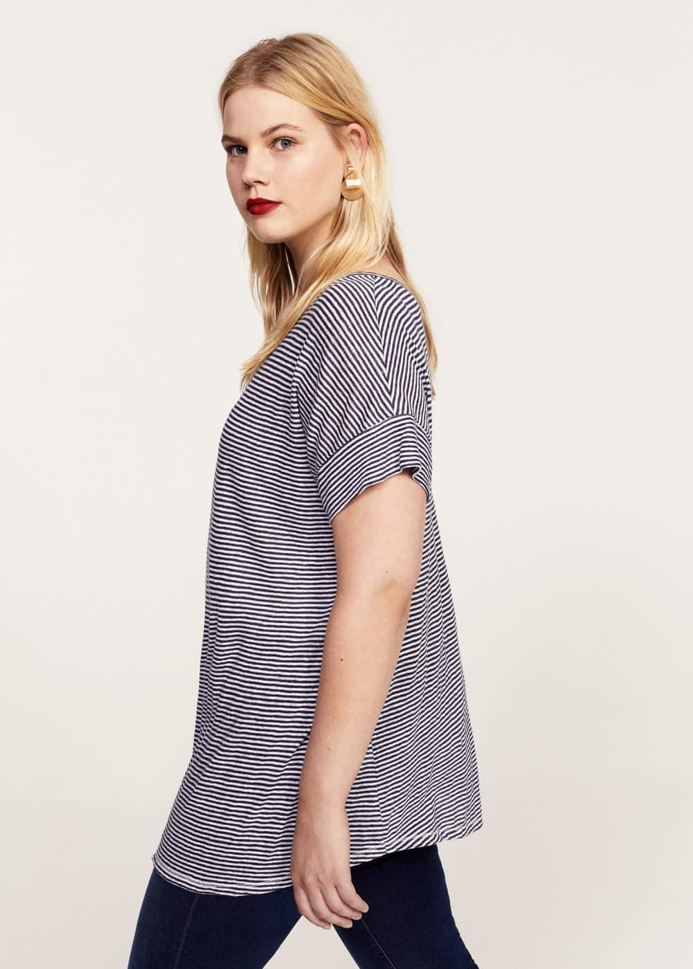 Striped linen-blend t-shirt | MANGO
