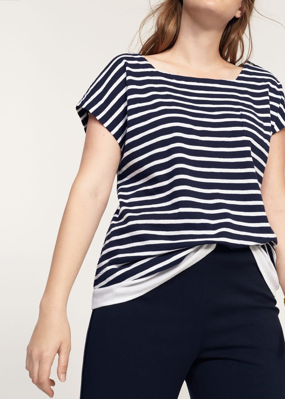 Striped contrast t-shirt | VIOLETA BY MANGO