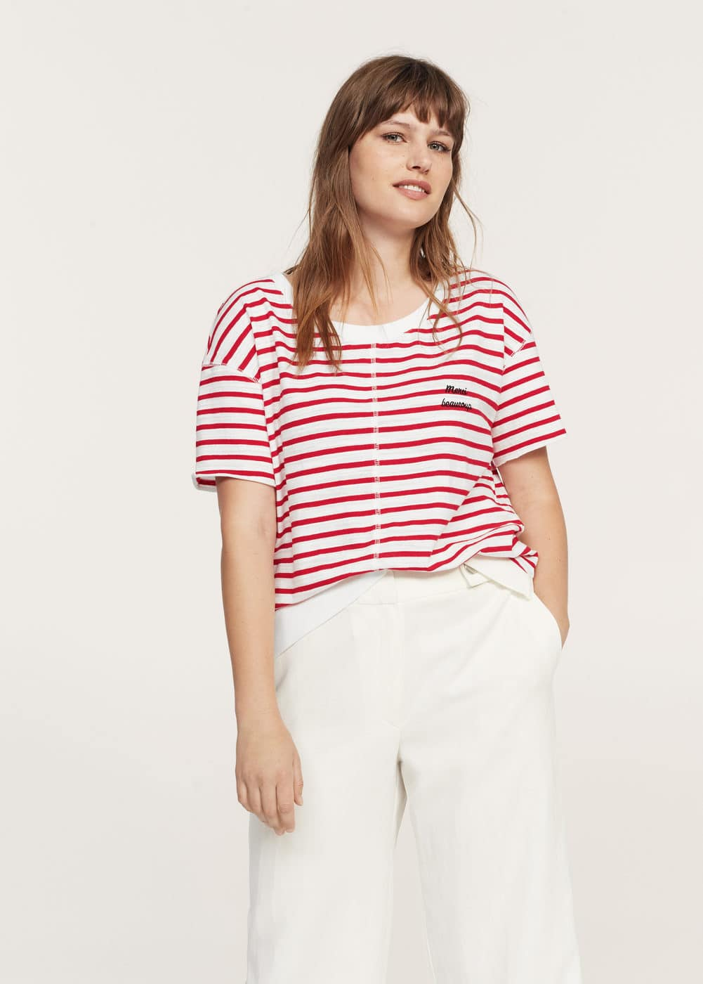Striped cotton t-shirt | VIOLETA BY MANGO