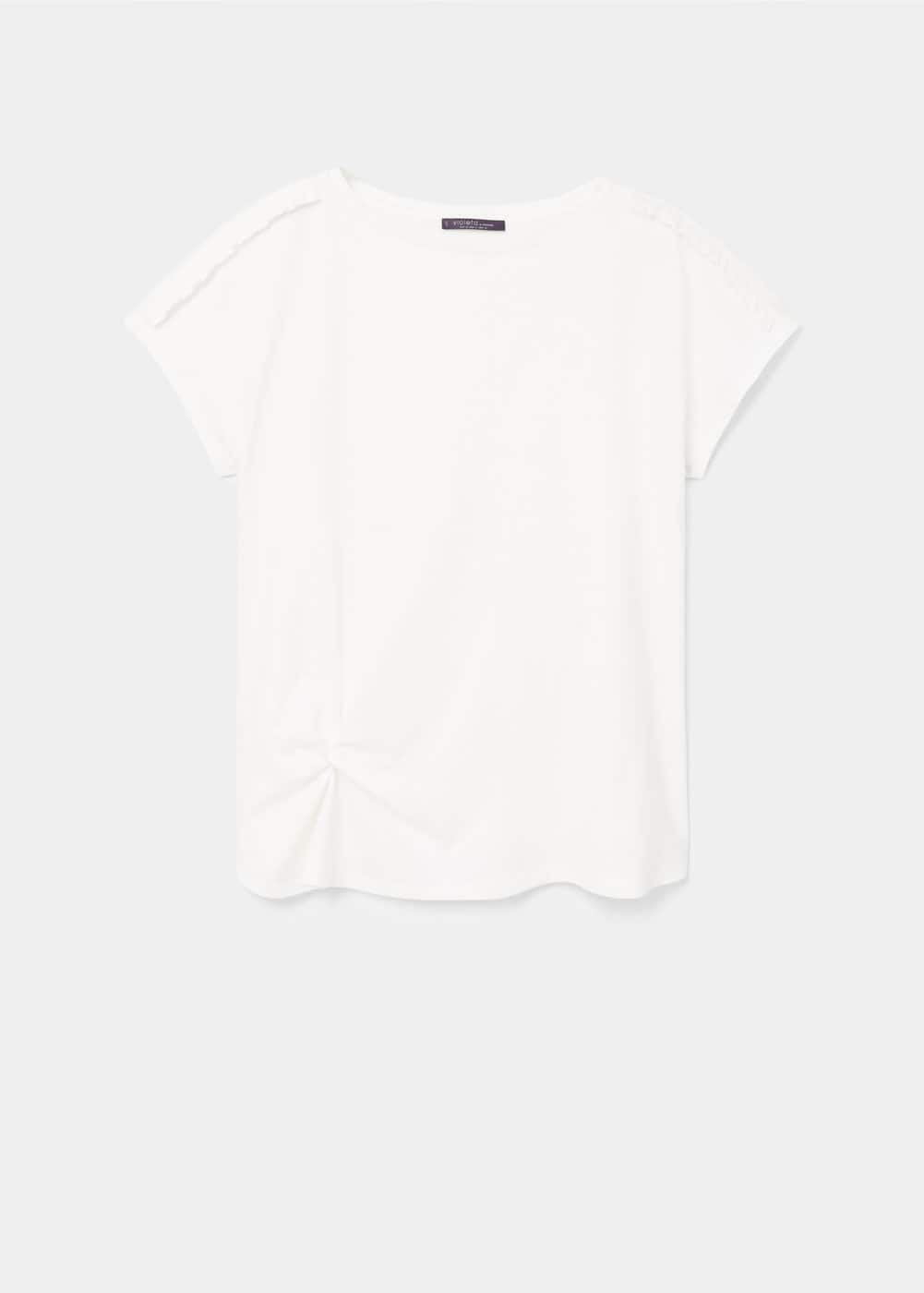 Ruched detail t-shirt | VIOLETA BY MANGO