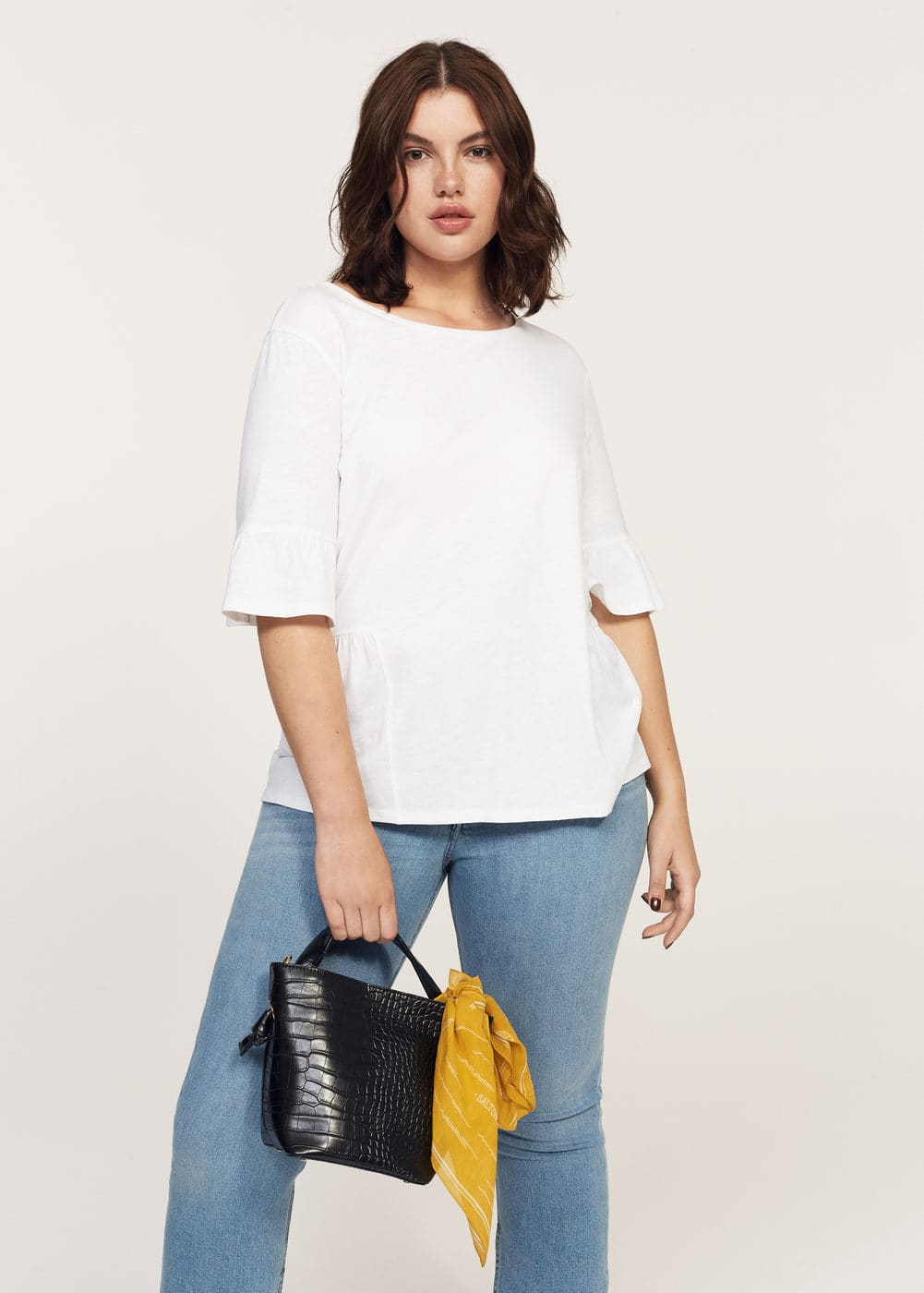Ruffled sleeve t-shirt | VIOLETA BY MANGO
