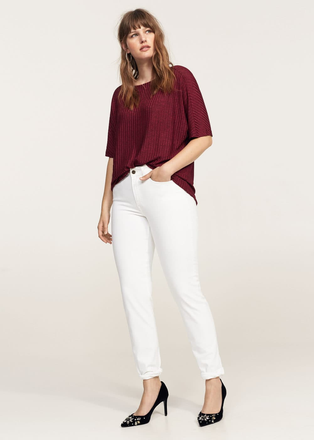 Ribbed t-shirt | VIOLETA BY MANGO