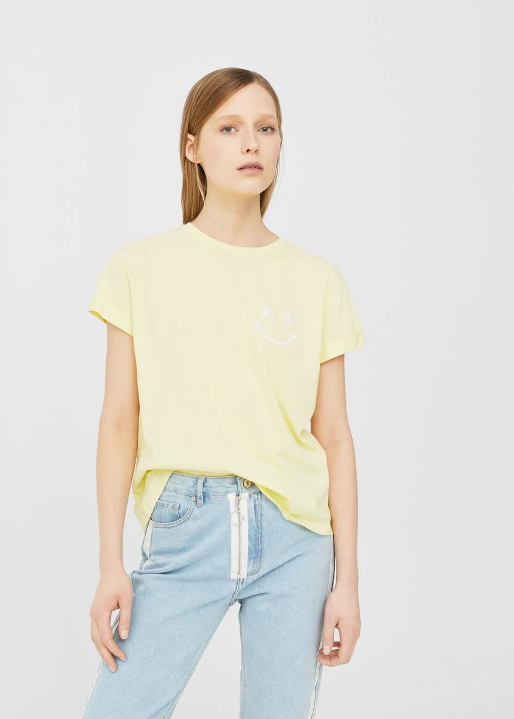 Embroidered detail cotton t-shirt | MANGO