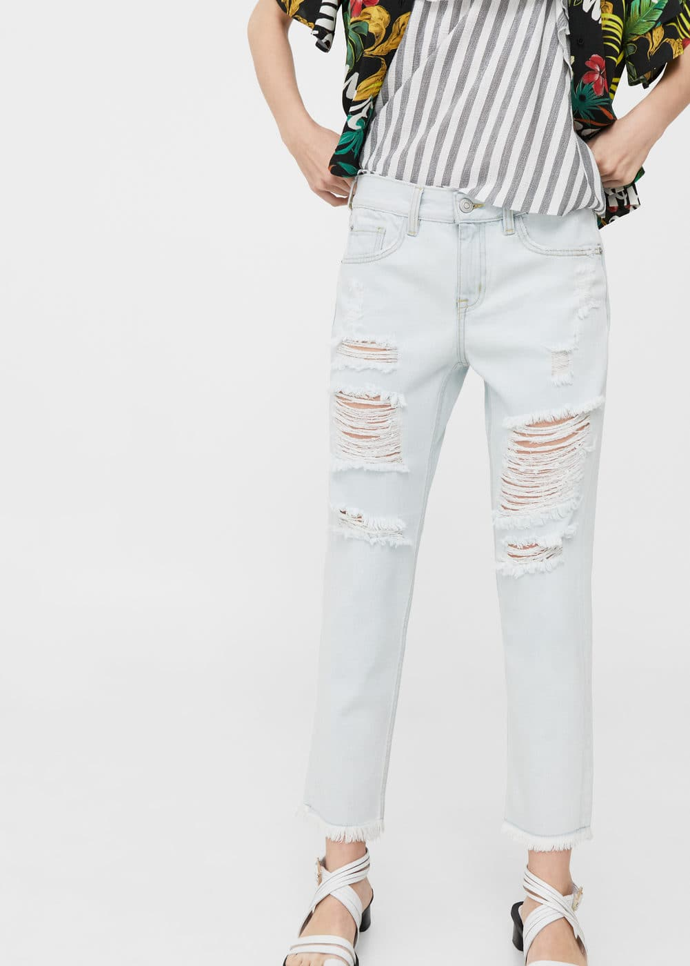 Ripped relaxed cigar jeans | MANGO