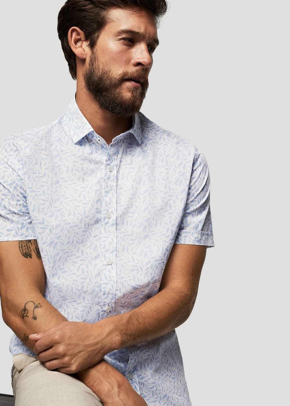 Slim-fit leaf-print shirt | MANGO