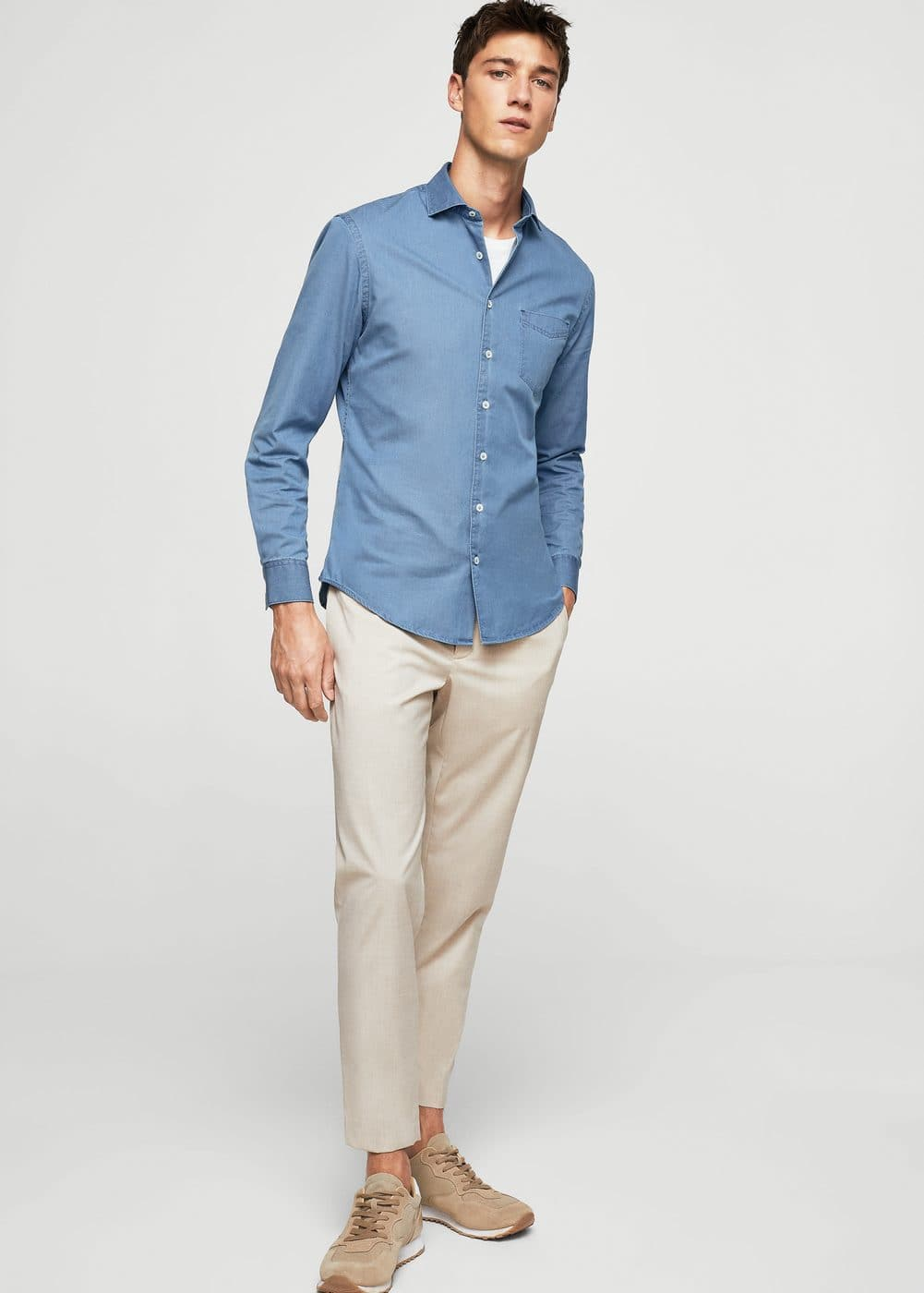 Slim-fit cotton chambray shirt | MANGO