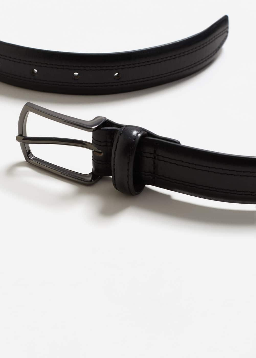 Stitched leather belt | MANGO MAN