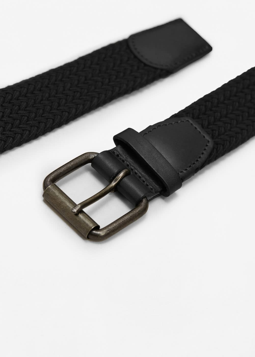 Leather-appliqué braided belt | MANGO MAN