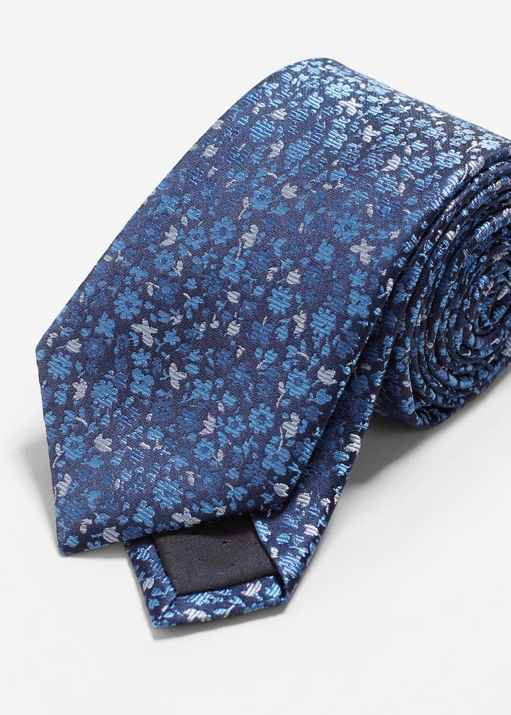Flower patterned silk tie | MANGO
