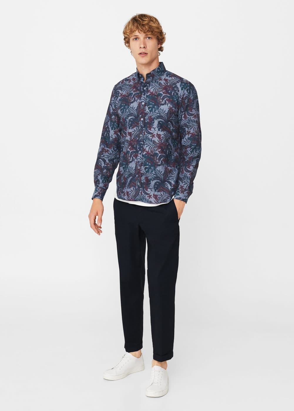 Slim-fit printed cotton chambray shirt | MANGO MAN