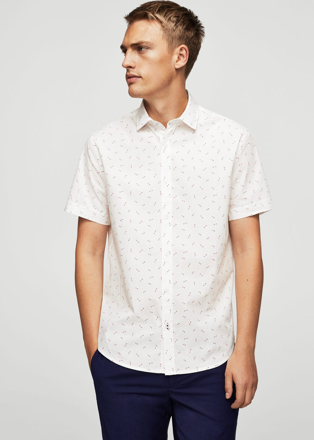 Slim-fit arrows print cotton shirt | MANGO MAN