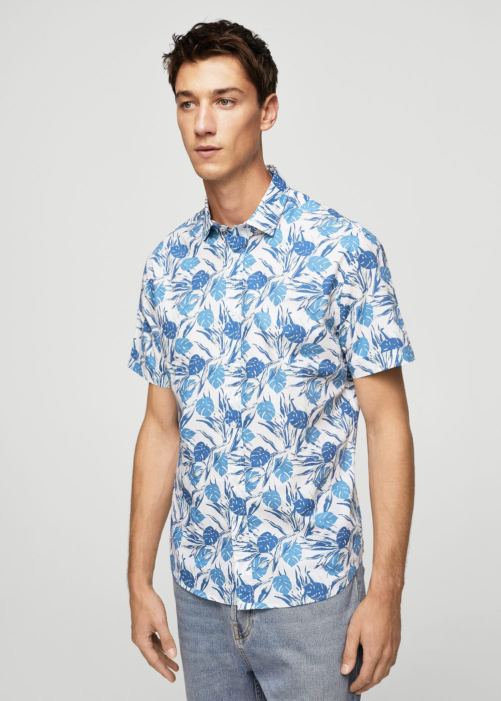 Slim-fit leaf-print shirt | MANGO MAN