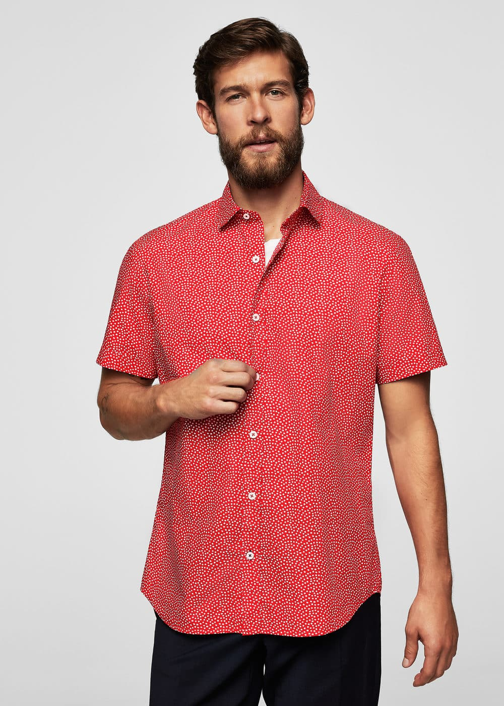 Camisa slim-fit micro estampat | MANGO MAN