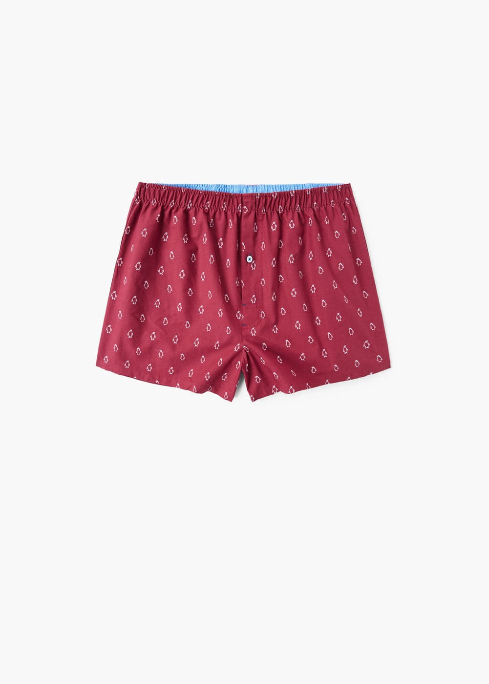 Penguins print cotton boxer shorts | MANGO