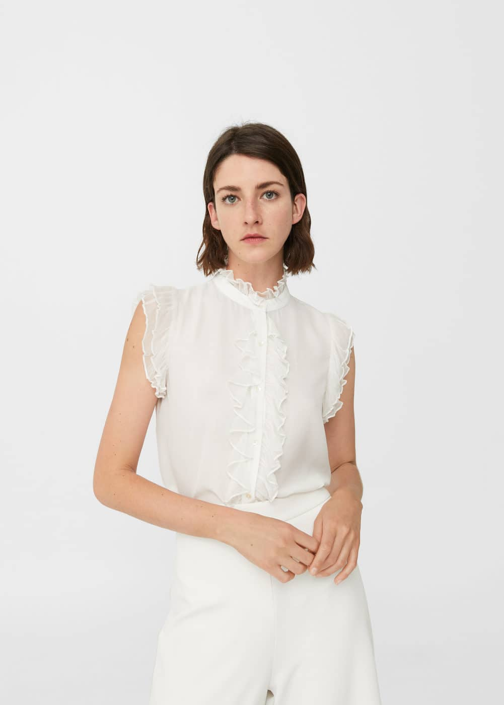 Funnel neck ruffled blouse | MANGO