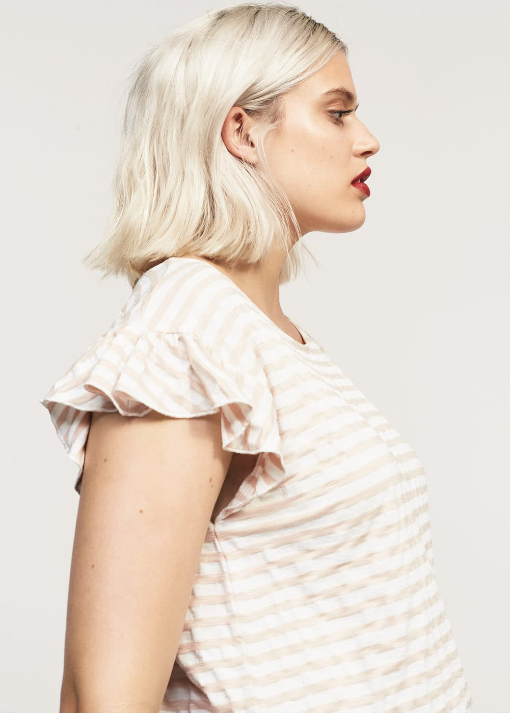 Beaded striped t-shirt | MANGO