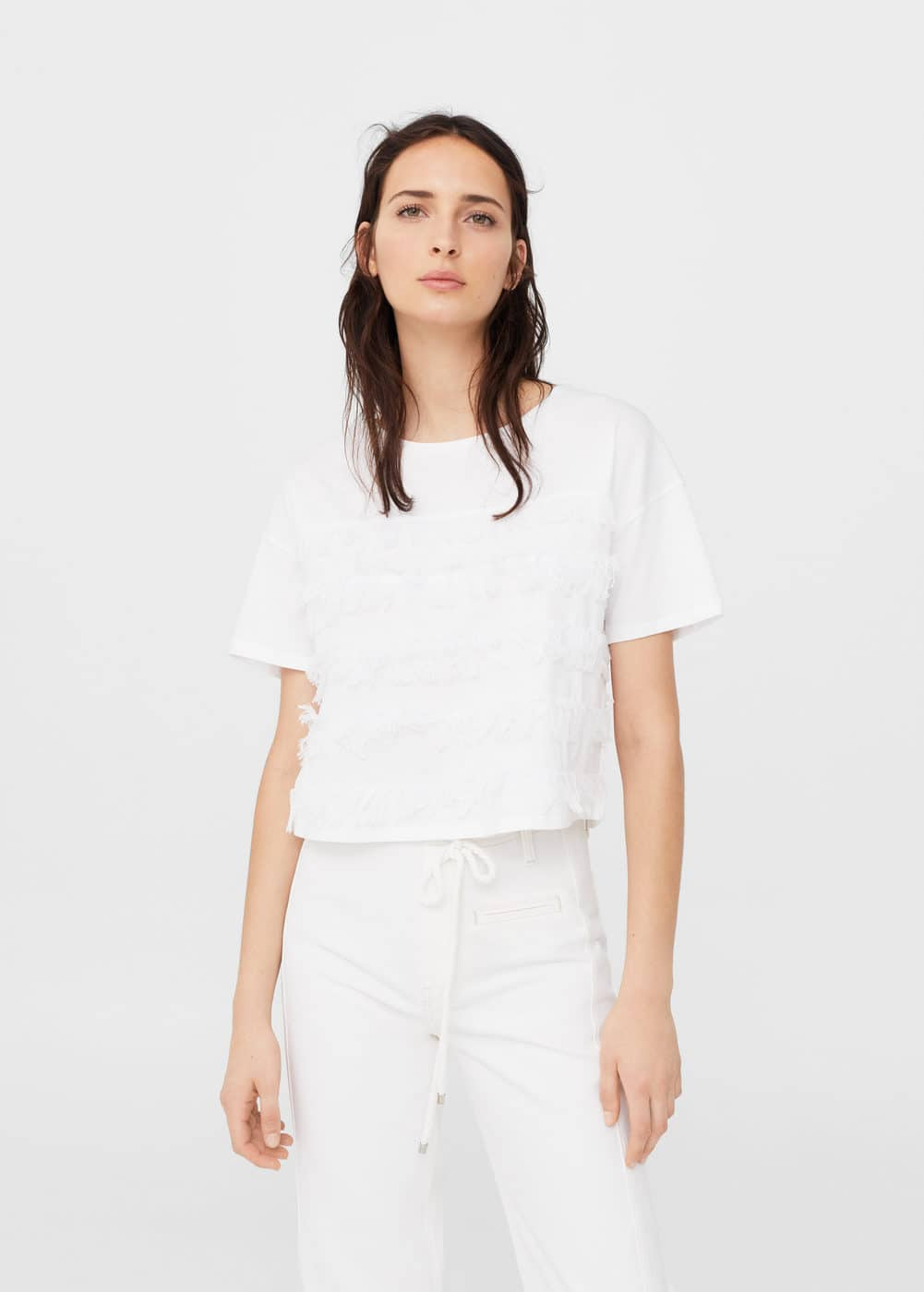 Fringe cotton t-shirt | MANGO
