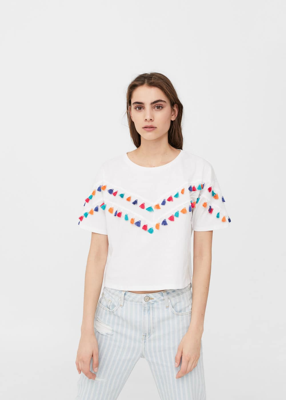 Tassels cotton t-shirt | MANGO