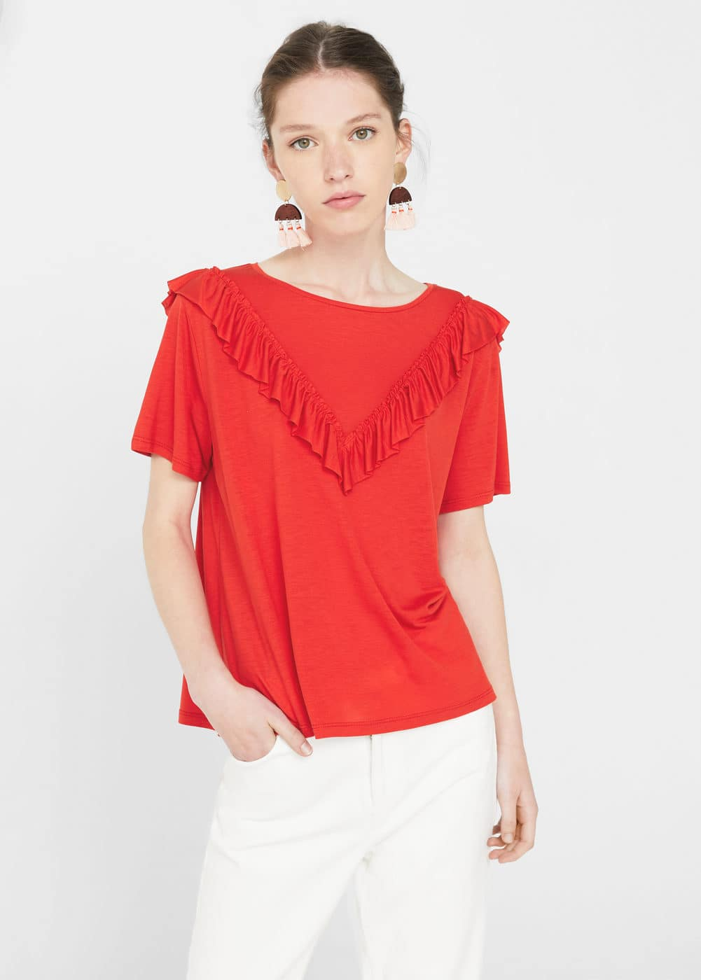 Ruffled detail t-shirt | MNG