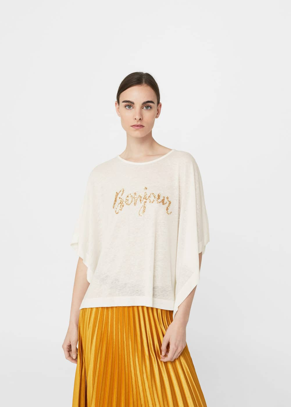 Metal appliqué t-shirt | MANGO
