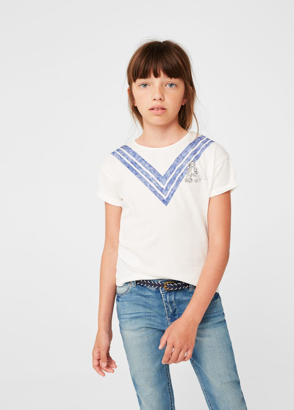 Embroidered sequin -shirt | MANGO KIDS
