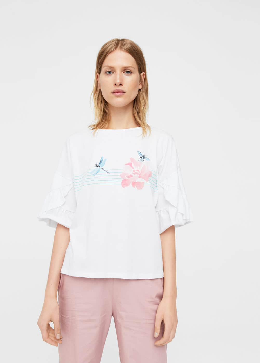 Ruffled printed t-shirt | MANGO