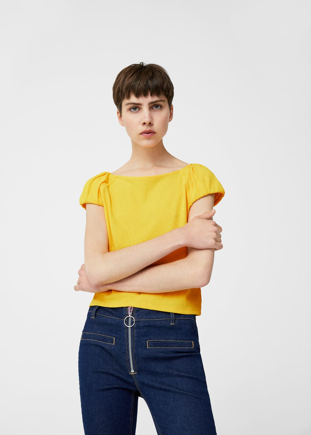 Shoulder detail t-shirt | MANGO