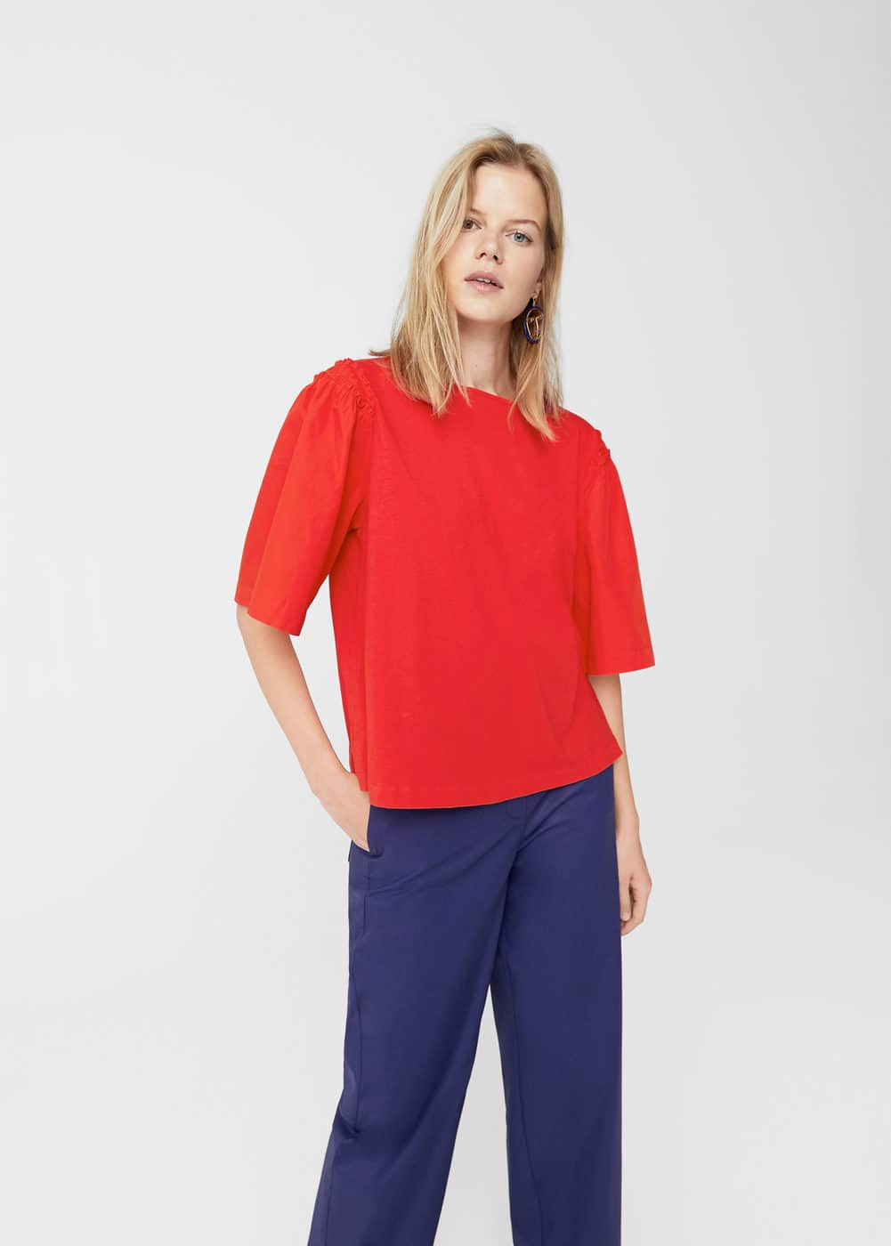 Flared sleeve t-shirt | MANGO