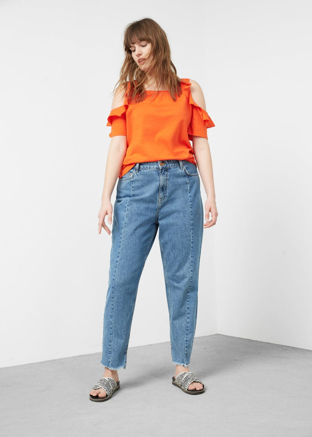 Ruffled off-shoulder t-shirt | VIOLETA BY MANGO