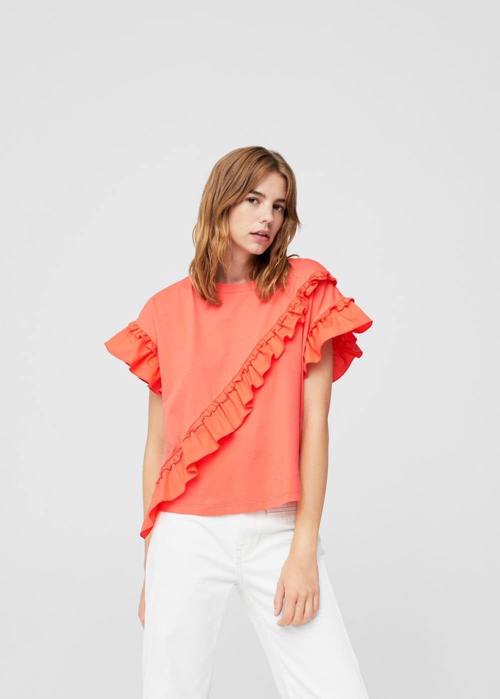 Ruffle cotton t-shirt | MANGO