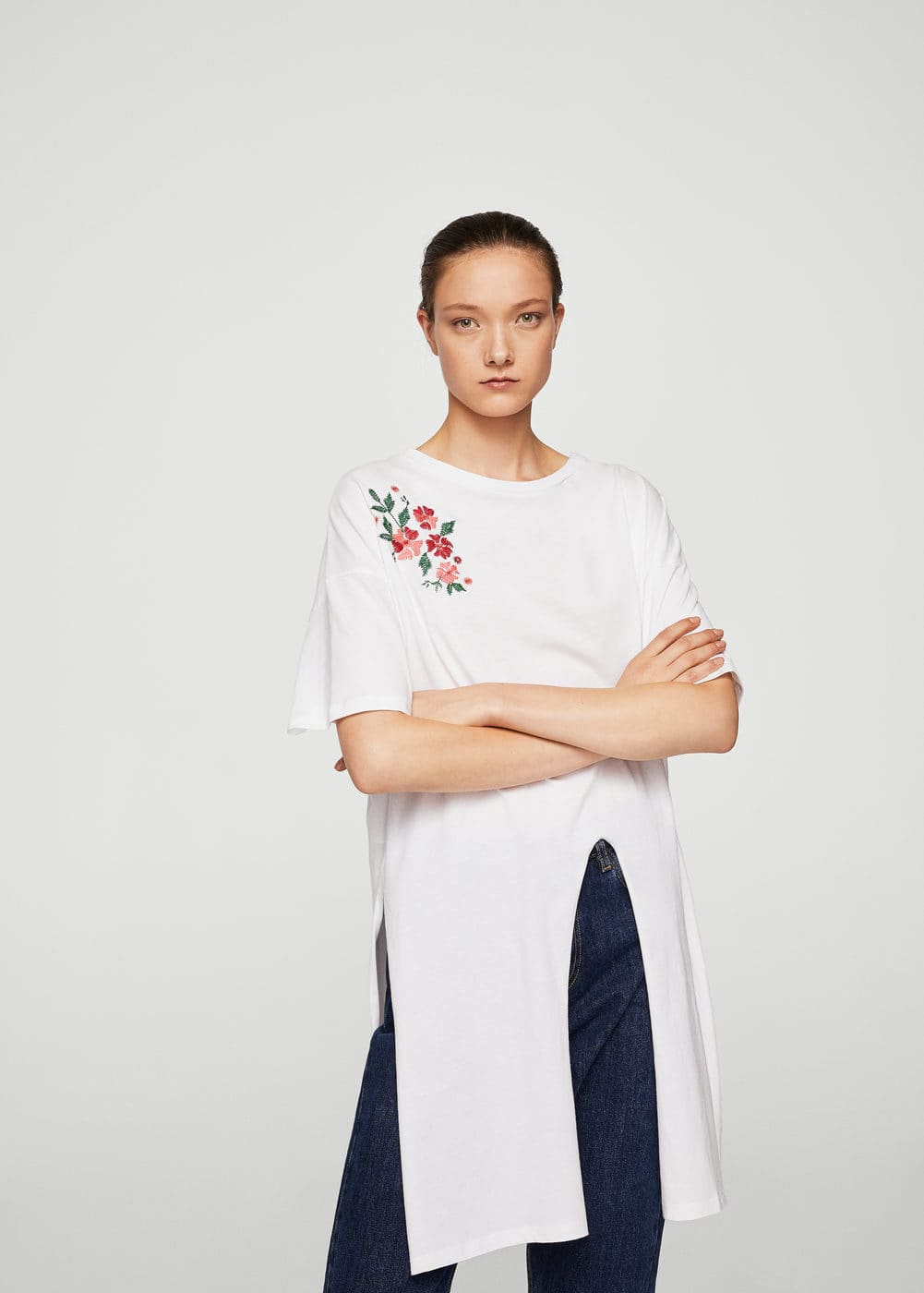 Long cotton t-shirt | MANGO